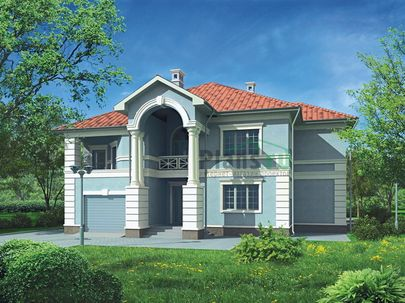 Проект двухэтажного дома 15x15 метров, общей площадью 300 м2, из керамических блоков, c гаражом, террасой, котельной и кухней-столовой