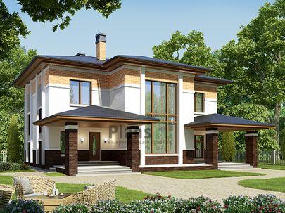 Проект двухэтажного дома 15x16 метров, общей площадью 225 м2, из газобетона (пеноблоков), со вторым светом, c террасой, котельной и кухней-столовой