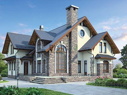 Проект двухэтажного дома 15x16 метров, общей площадью 243 м2, из керамических блоков, со вторым светом, c террасой, котельной, лоджией и кухней-столовой