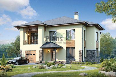Проект двухэтажного дома 15x16 метров, общей площадью 285 м2, из керамических блоков, c гаражом, котельной, лоджией и кухней-столовой