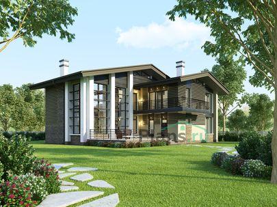 Проект двухэтажного дома 15x17 метров, общей площадью 231 м2, из кирпича, со вторым светом, c террасой, котельной и кухней-столовой