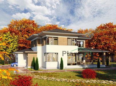 Проект двухэтажного дома 15x17 метров, общей площадью 234 м2, из газобетона (пеноблоков), c гаражом, террасой, котельной и кухней-столовой