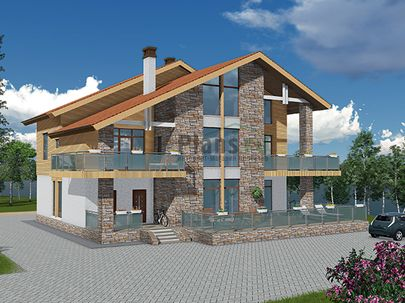 Проект двухэтажного дома 15x18 метров, общей площадью 265 м2, из керамических блоков, со вторым светом, c террасой, котельной и кухней-столовой