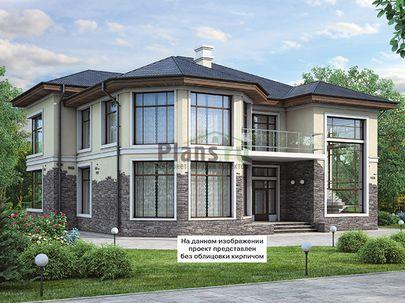 Проект двухэтажного дома 15x18 метров, общей площадью 312 м2, из керамических блоков, c террасой, котельной и кухней-столовой