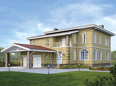 Проект двухэтажного дома 15x22 метров, общей площадью 312 м2, из керамических блоков, c террасой, котельной и кухней-столовой