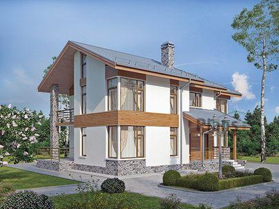Проект двухэтажного дома 15x9 метров, общей площадью 187 м2, из газобетона (пеноблоков), c террасой, котельной и кухней-столовой