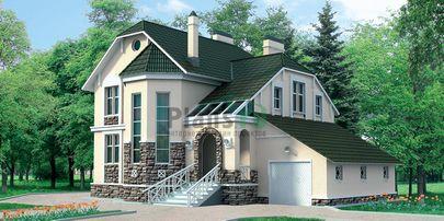 Проект двухэтажного дома 15x9 метров, общей площадью 219 м2, из газобетона (пеноблоков), со вторым светом, c гаражом
