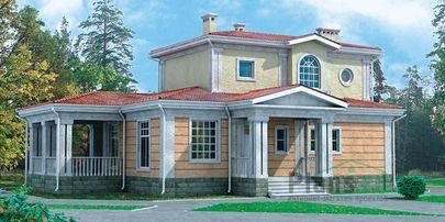 Проект двухэтажного дома 16x10 метров, общей площадью 146 м2, из кирпича, c террасой и котельной