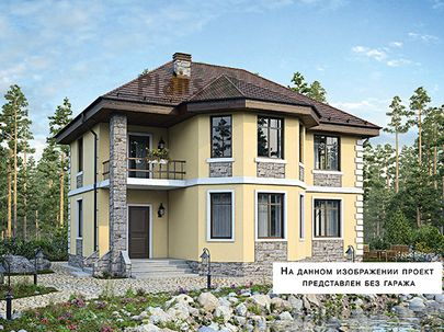 Проект двухэтажного дома 16x10 метров, общей площадью 165 м2, из газобетона (пеноблоков), c гаражом, террасой, котельной и кухней-столовой