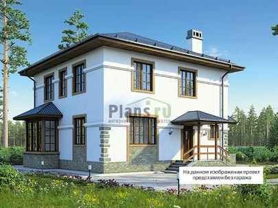 Проект двухэтажного дома 16x10 метров, общей площадью 195 м2, из газобетона (пеноблоков), c гаражом, котельной и кухней-столовой