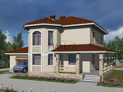 Проект двухэтажного дома 16x11 метров, общей площадью 175 м2, из кирпича, c гаражом, террасой, котельной и кухней-столовой