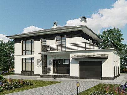 Проект двухэтажного дома 16x11 метров, общей площадью 203 м2, из газобетона (пеноблоков), c гаражом, террасой, котельной и кухней-столовой