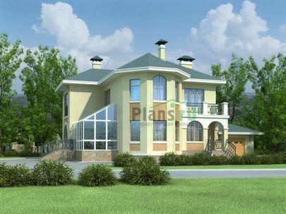 Проект двухэтажного дома 16x11 метров, общей площадью 235 м2, из газобетона (пеноблоков), c гаражом, зимним садом и кухней-столовой