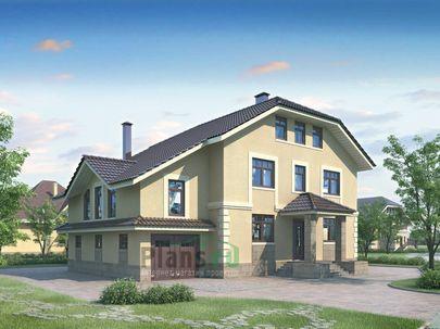 Проект двухэтажного дома 16x11 метров, общей площадью 245 м2, из газобетона (пеноблоков), c гаражом, зимним садом и котельной