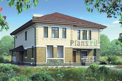 Проект двухэтажного дома 16x11 метров, общей площадью 279 м2, из керамических блоков, c террасой, котельной и кухней-столовой