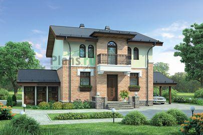 Проект двухэтажного дома 16x12 метров, общей площадью 141 м2, из газобетона (пеноблоков), c террасой и котельной