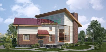 Проект двухэтажного дома 16x12 метров, общей площадью 176 м2, из газобетона (пеноблоков), со вторым светом, c террасой, котельной и кухней-столовой