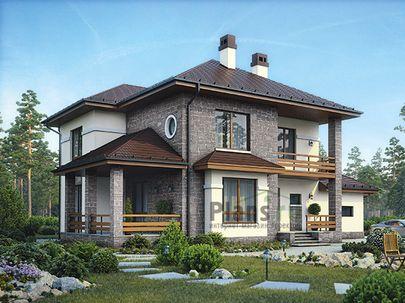 Проект двухэтажного дома 16x12 метров, общей площадью 209 м2, из керамических блоков, c гаражом, террасой, котельной и кухней-столовой