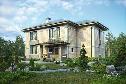 Проект двухэтажного дома 16x12 метров, общей площадью 224 м2, из керамических блоков, со вторым светом, c террасой, котельной и кухней-столовой