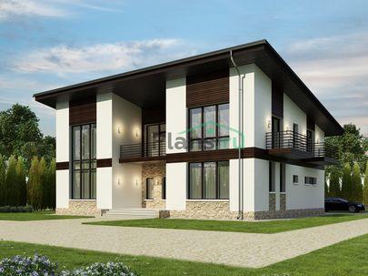 Проект двухэтажного дома 16x12 метров, общей площадью 259 м2, из газобетона (пеноблоков), со вторым светом, c террасой, котельной и кухней-столовой