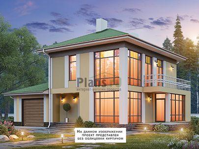 Проект двухэтажного дома 16x13 метров, общей площадью 145 м2, из газобетона (пеноблоков), c гаражом, террасой, котельной и кухней-столовой