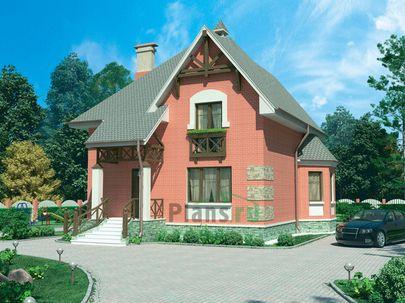Проект двухэтажного дома 16x13 метров, общей площадью 183 м2, из газобетона (пеноблоков), c кухней-столовой