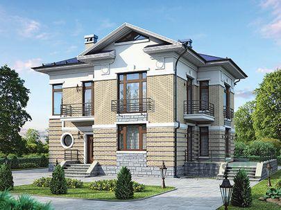 Проект двухэтажного дома 16x13 метров, общей площадью 198 м2, из керамических блоков, c террасой, котельной и кухней-столовой