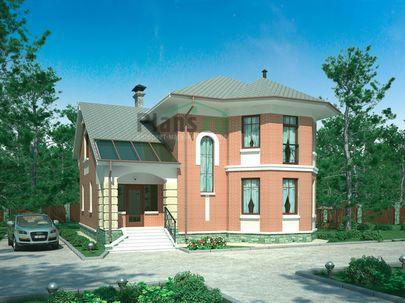 Проект двухэтажного дома 16x13 метров, общей площадью 203 м2, из газобетона (пеноблоков), c террасой и котельной