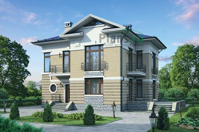 Проект двухэтажного дома 16x13 метров, общей площадью 206 м2, из керамических блоков, c террасой, котельной и кухней-столовой