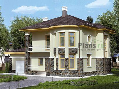 Проект двухэтажного дома 16x13 метров, общей площадью 218 м2, из газобетона (пеноблоков), c гаражом, террасой, котельной и кухней-столовой