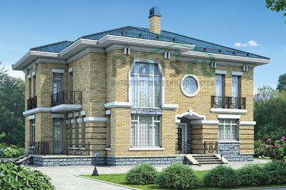 Проект двухэтажного дома 16x13 метров, общей площадью 239 м2, из газобетона (пеноблоков), со вторым светом, c террасой, котельной и кухней-столовой
