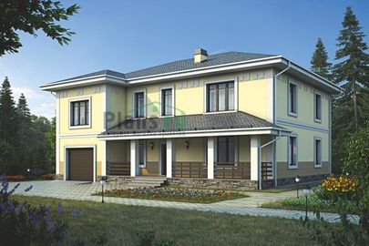 Проект двухэтажного дома 16x13 метров, общей площадью 285 м2, из керамических блоков, c гаражом, террасой, котельной и кухней-столовой