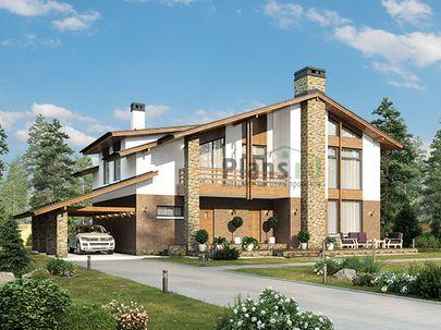Проект двухэтажного дома 16x13 метров, общей площадью 325 м2, из керамических блоков, со вторым светом, c террасой, котельной и кухней-столовой