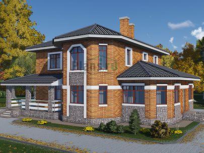 Проект двухэтажного дома 16x14 метров, общей площадью 202 м2, из газобетона (пеноблоков), c террасой, котельной и кухней-столовой