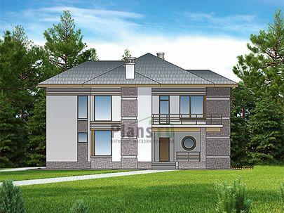 Проект двухэтажного дома 16x14 метров, общей площадью 202 м2, из керамических блоков, со вторым светом, c гаражом, террасой, котельной, лоджией и кухней-столовой