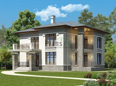 Проект двухэтажного дома 16x14 метров, общей площадью 203 м2, из керамических блоков, c террасой, котельной и кухней-столовой