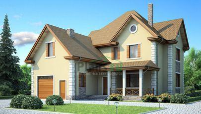 Проект двухэтажного дома 16x14 метров, общей площадью 222 м2, из керамических блоков, c гаражом, котельной и кухней-столовой