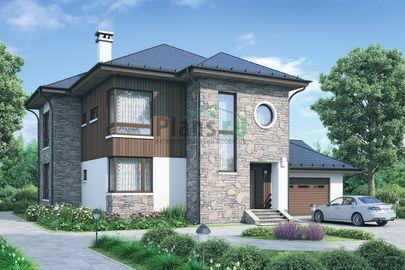 Проект двухэтажного дома 16x14 метров, общей площадью 246 м2, из газобетона (пеноблоков), c гаражом и котельной