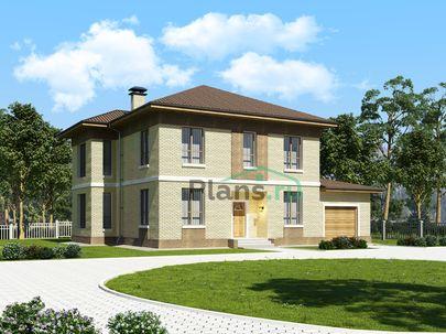 Проект двухэтажного дома 16x14 метров, общей площадью 257 м2, из керамических блоков, c гаражом, котельной и кухней-столовой