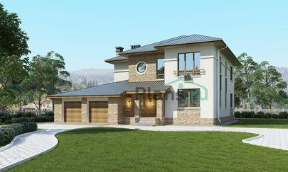 Проект двухэтажного дома 16x14 метров, общей площадью 261 м2, из газобетона (пеноблоков), c гаражом, террасой, котельной и кухней-столовой