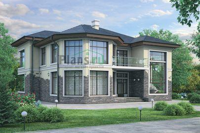 Проект двухэтажного дома 16x14 метров, общей площадью 266 м2, из керамических блоков, со вторым светом, c террасой и котельной