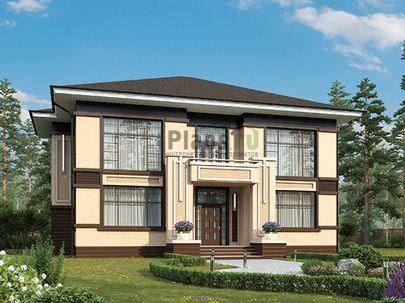 Проект двухэтажного дома 16x14 метров, общей площадью 269 м2, из керамических блоков, со вторым светом, c террасой, котельной и кухней-столовой