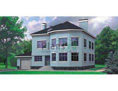 Проект двухэтажного дома 16x14 метров, общей площадью 274 м2, из керамических блоков, c гаражом, котельной и кухней-столовой