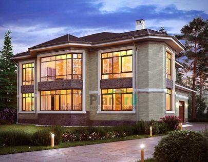 Проект двухэтажного дома 16x14 метров, общей площадью 318 м2, из керамических блоков, c гаражом и котельной