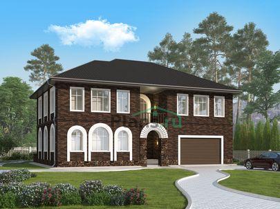 Проект двухэтажного дома 16x14 метров, общей площадью 338 м2, из керамических блоков, c гаражом, котельной и кухней-столовой