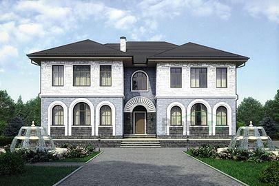Проект двухэтажного дома 16x14 метров, общей площадью 354 м2, из керамических блоков, c гаражом, террасой и котельной