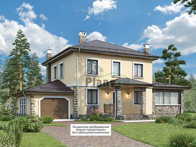 Проект двухэтажного дома 16x15 метров, общей площадью 167 м2, из кирпича, c гаражом, террасой, котельной и кухней-столовой