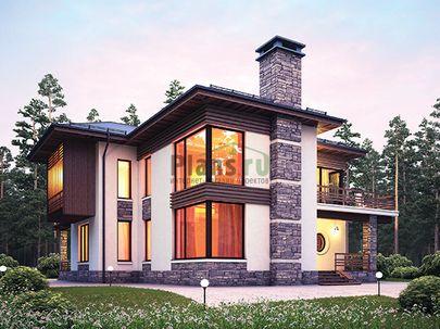 Проект двухэтажного дома 16x15 метров, общей площадью 204 м2, из керамических блоков, со вторым светом, c террасой, котельной и кухней-столовой