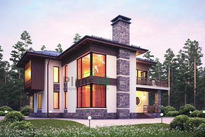 Проект двухэтажного дома 16x15 метров, общей площадью 204 м2, из керамических блоков, со вторым светом, c террасой, котельной, лоджией и кухней-столовой
