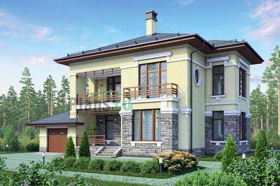 Проект двухэтажного дома 16x15 метров, общей площадью 216 м2, из газобетона (пеноблоков), c гаражом, террасой и котельной